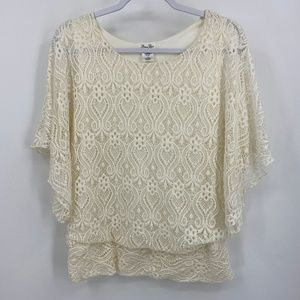Brittany Black White Lace Dolman sleeve top XL